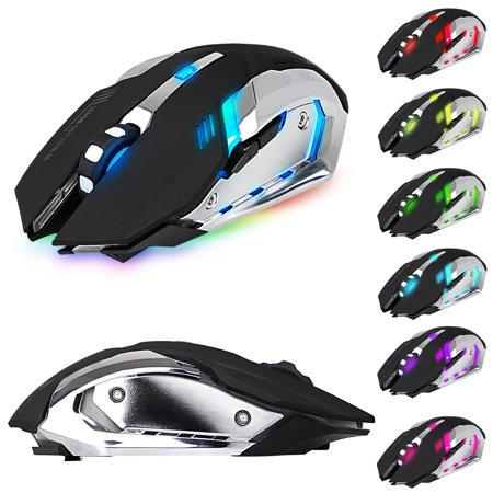 Bluetooth Gaming Mouse, X70 Rechargeable Wireless RGB 7 Color Backlit 4 DPI (2400/1600/1200/800) USB Game Mouse For Computer Laptop