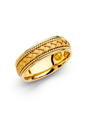 14K Solid Yellow Gold 6MM Braided Rope Comfort Fit Wedding Band, Size 5