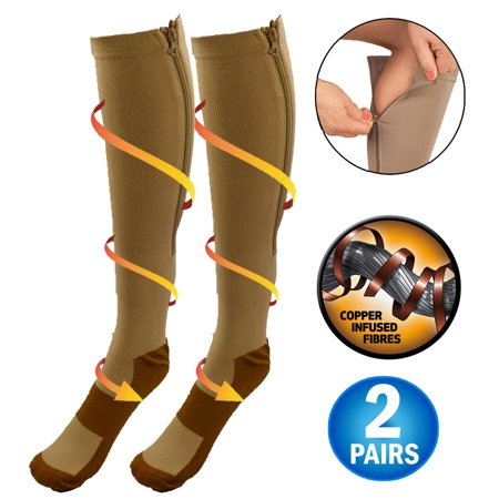 Closed Toe Compression Stocking (Copper Infused Zipper Compression Socks - Closed Toe Zip Up Circulation Pressure Stockings - Knee High For Support, Reduce Swelling & Better Circulation - Nude Regular (2 Pairs) )