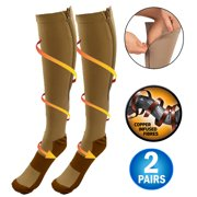 Copper Infused Zipper Compression Socks - Closed Toe Zip Up Circulation Pressure Stockings - Knee High For Support, Reduce Swelling & Better Circulation - Nude Regular (2 Pairs)