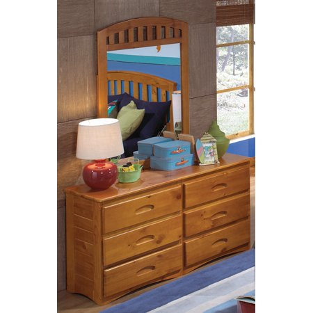Honey Pine Dresser (American Furniture Classics Solid Pine Six Drawer Dresser and Mirror in Honey Finish)