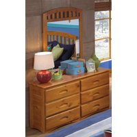 American Furniture Classics Solid Pine Six Drawer Dresser and Mirror in Honey Finish