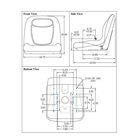 Track Fork Kit - New Grey HIGH BACK SEAT w/ Slide Track Kit for Case Forklift Fork Lift Truck by The ROP Shop