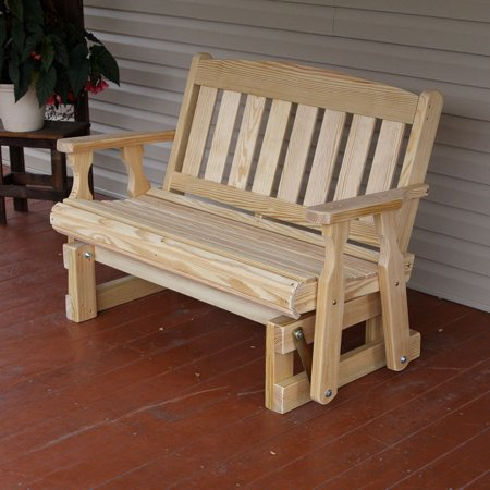 Amish Heavy Duty 800 Lb Mission Pressure Treated Porch Glider (4 Foot, Unfinished) ()