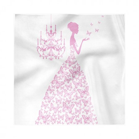 Love Napkins Set of 4, Princess with Butterflies Gown Fairytale Girl Pinkish Romance Design Illustration, Silky Satin Fabric for Brunch Dinner Buffet Party, by Ambesonne