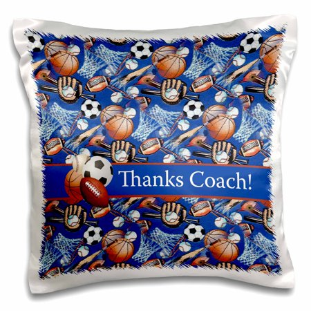 3dRose Thank you Coach, Baseballs, Footballs, Soccer, Gloves, Basketballs - Pillow Case, 16 by 16-inch ()