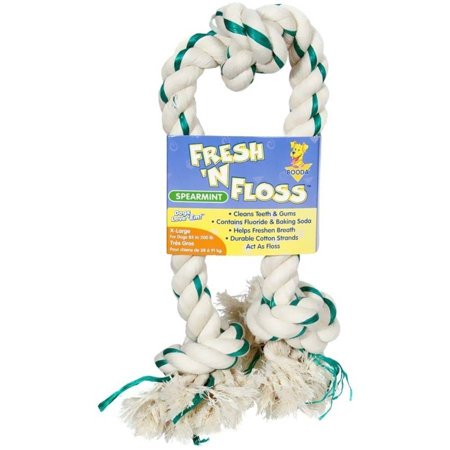Booda Fresh N Floss 3-Knot Tug Bone, XL, Spearmint