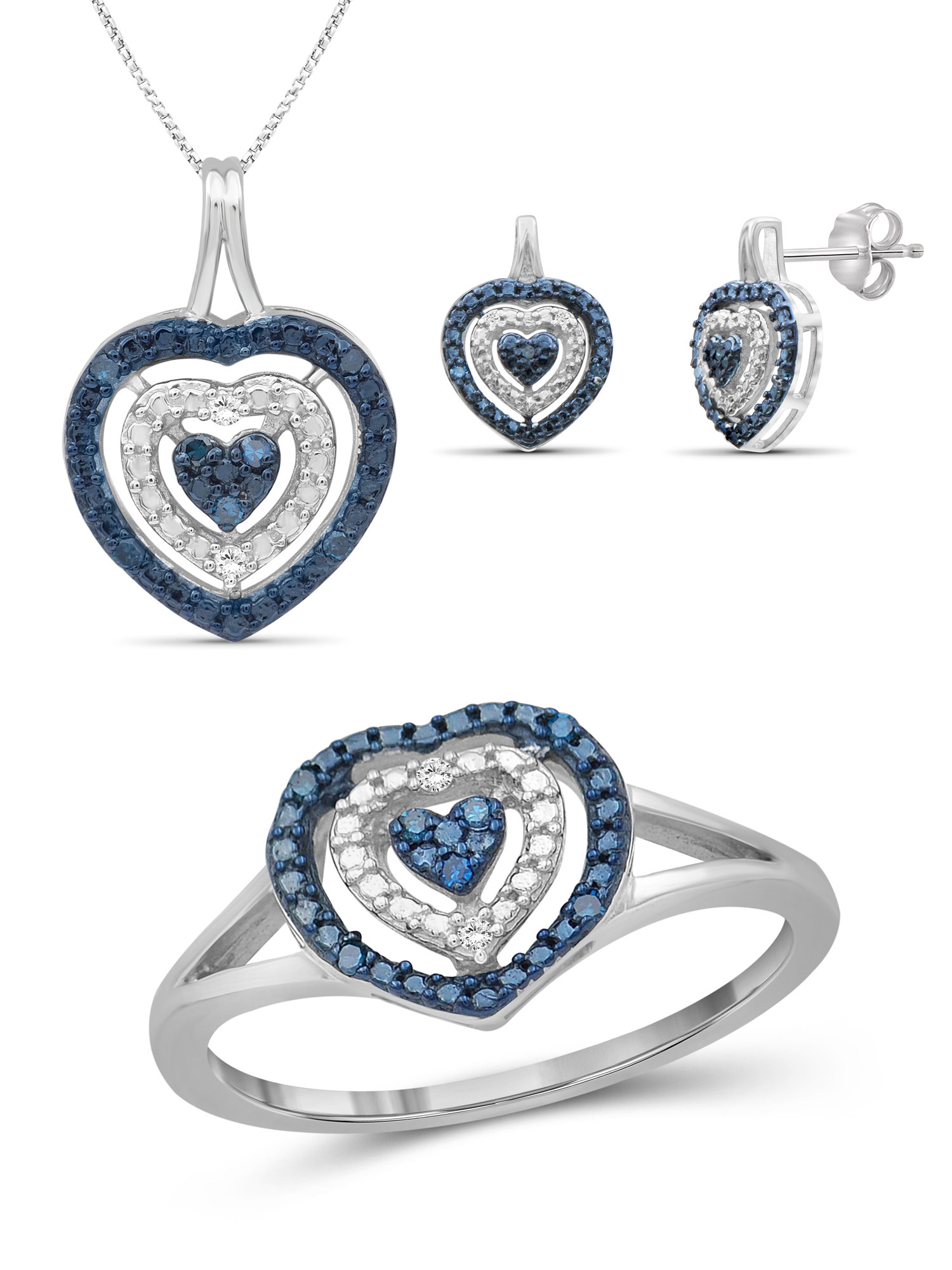 JewelersClub Blue And White Diamond Accent Sterling Silver 3-Piece Heart Jewelry Set