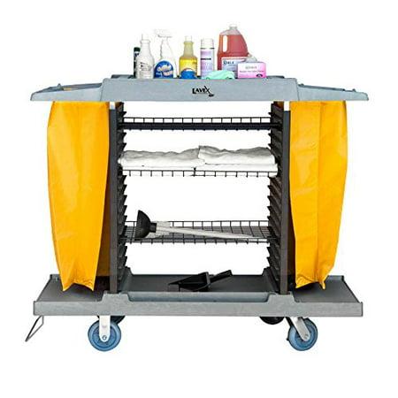 Lavex Lodging Adjustable Four Shelf Large Housekeeping Cart