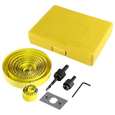 Yosoo 16pcs Yellow Hole Saw Drill Bit Kit Wood Sheet Metal 3/4