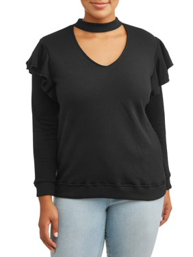 dc3109cb0f8 Product Image Women's Plus Size Mock V-Neck Ruffle Detail Sweatshirt