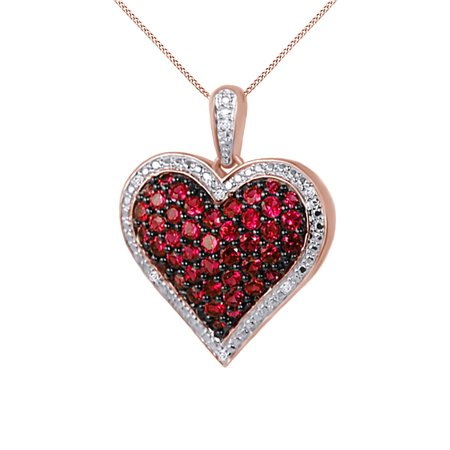 0.25 Ct Diamond Necklace (1 Ct. Ruby and Natural Diamond Heart Pendant Necklace 14k Rose Gold Over Sterling Silver )