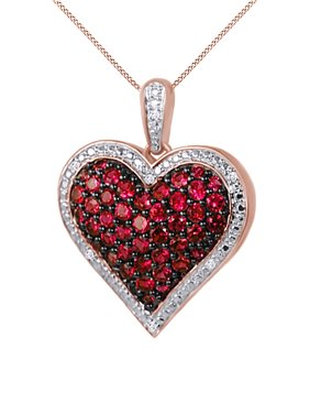 f5962060c Product Image 1 Ct. Ruby and Natural Diamond Heart Pendant Necklace 14k  Rose Gold Over Sterling Silver. Product TitleJewel Zone US1 Ct. ...