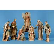 7 Piece Classic Earth Tone Religious Christmas Nativity Figurine Set