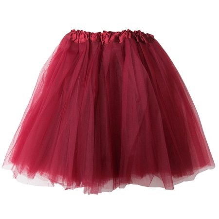 Plus Size Maroon/Burgundy Adult 3-Layer Tulle Tutu Skirt - Princess  Halloween Costume, Ballet Dress, Party Outfit, Warrior Dash/ 5K Run