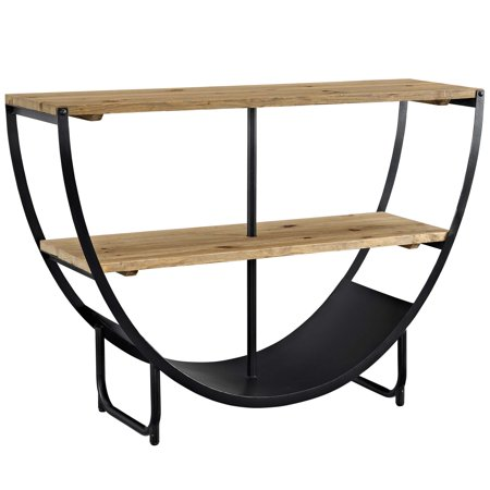 Modern Contemporary Urban Industrial Antique Vintage Style Living Lounge Room Bookcase Bookshelf Shelf Rack Stand, Brown, Wood ()