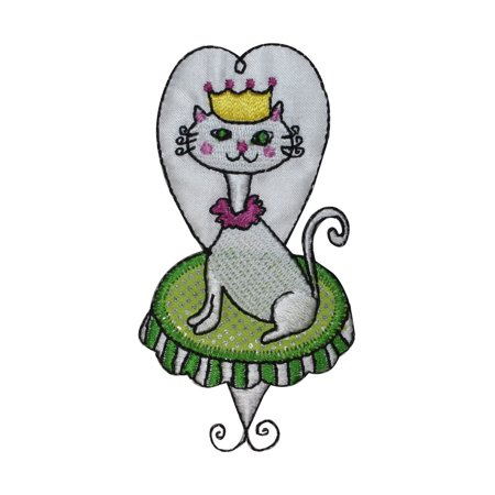 ID 3009 Princess Cat On Chair Patch Kitten Kitty Embroidered Iron On Applique