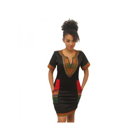 Topumt Women's African Dashiki Party Dress Boho Hippe Gypsy Festival Mini Pencil Dress (Gypsy Dress Up Ideas)