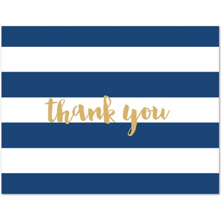 Navy Stripes Bridal Shower/Baby Shower Folded Thank You Cards and Envelopes - 50 count](Bridal Shower Thank You Cards)