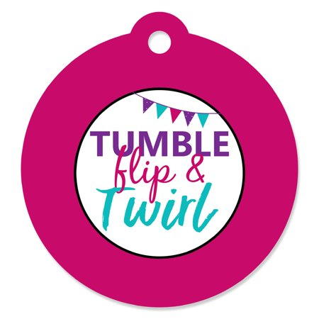 Tumble, Flip & Twirl - Gymnastics - Birthday Party or Gymnast Party Favor Gift Tags (Set of 20)](Gymnastics Birthday Party Decorations)