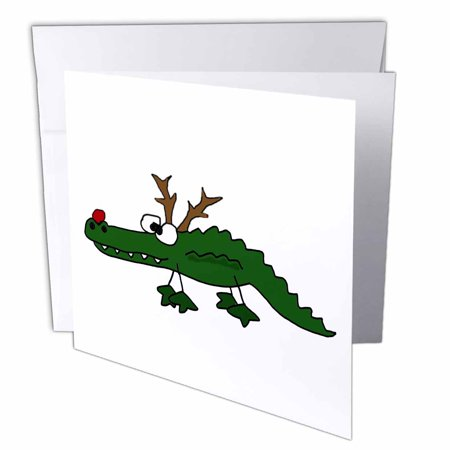 3dRose Funny Alligator with Red Nose and Antlers like Reindeer, Greeting Cards, 6 x 6 inches, set of 12