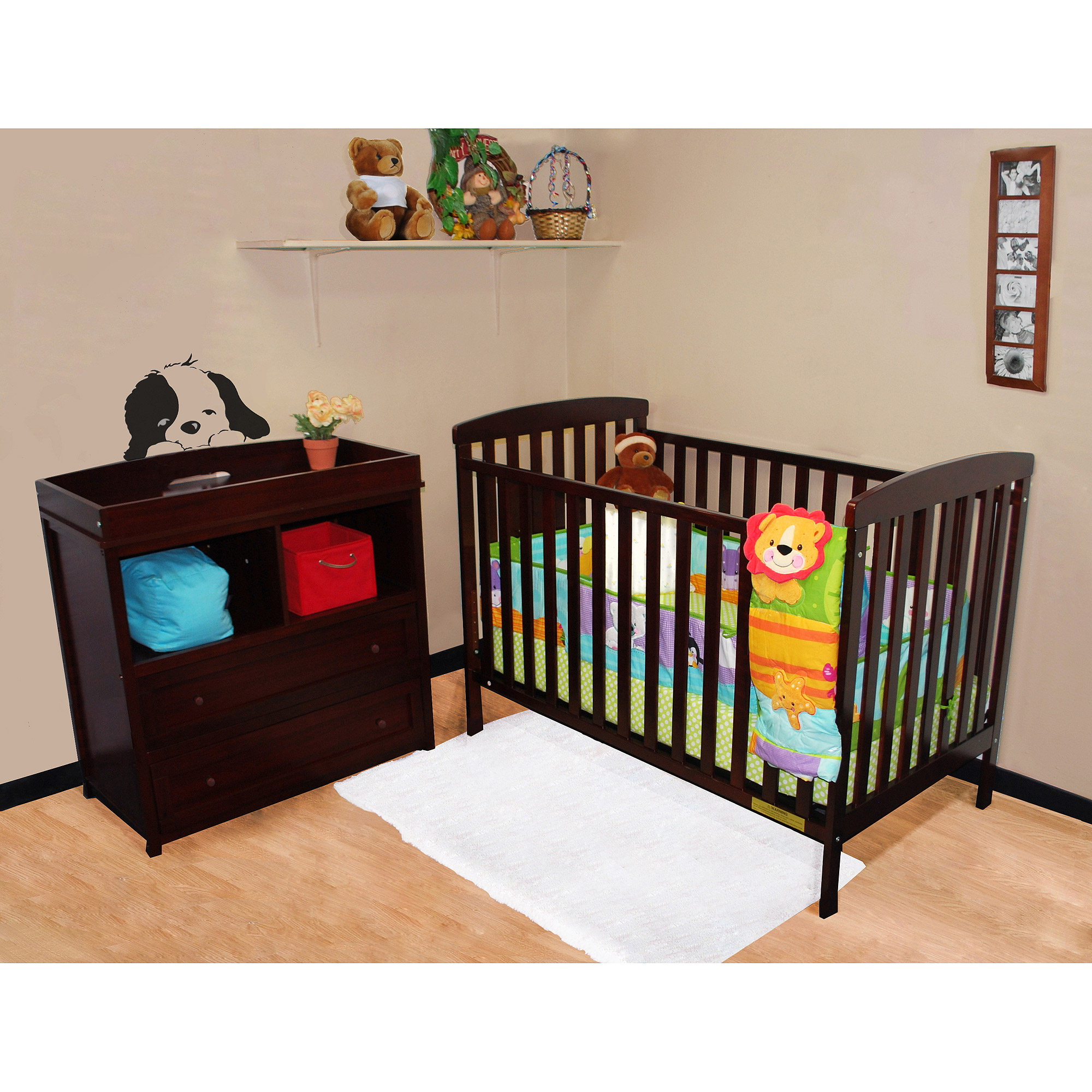 AFG- Athena Leila Crib and Dresser/Changing Table Set, Choose Your Finish