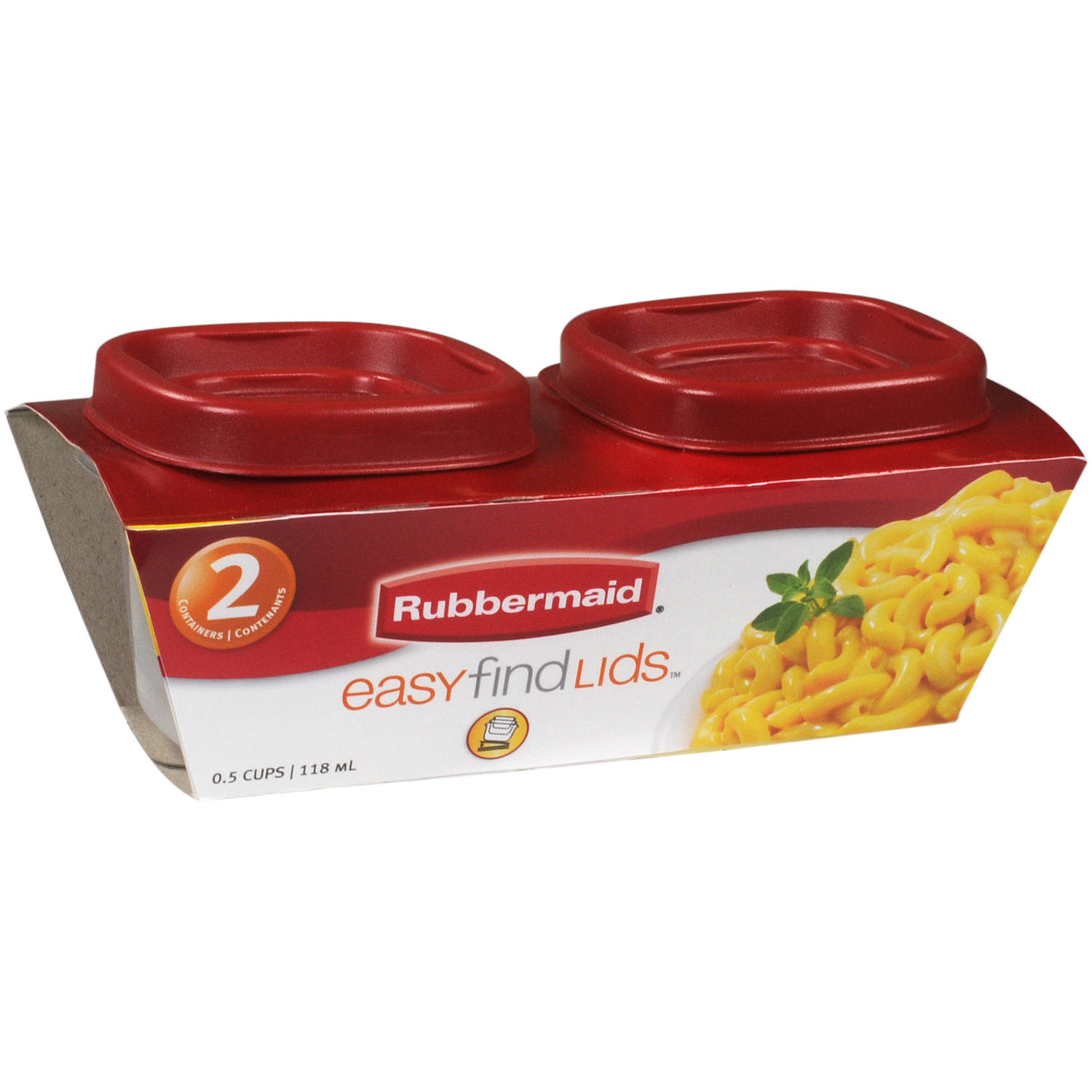 Rubbermaid Easy Find Lids Food Storage Containers, 0.5 cups, 2 count