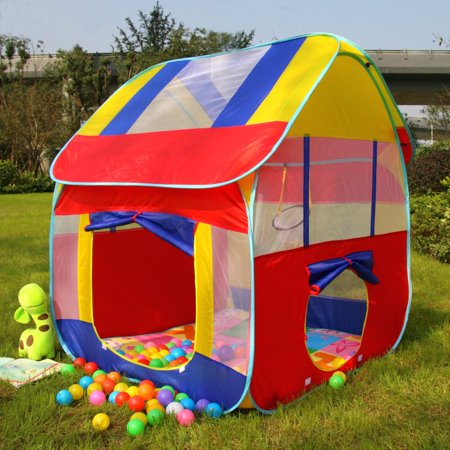 Game Tents - Kids Indoor & Outdoor Playground Ball Pit Play Tent Play House Hut Fun Game Toy with Pit Balls