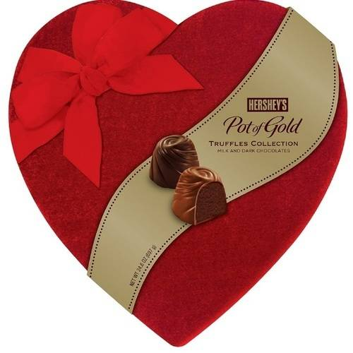 Hershey's Pot of Gold Assorted Truffles Valentine's Velvet Heart Box, 24.6 oz