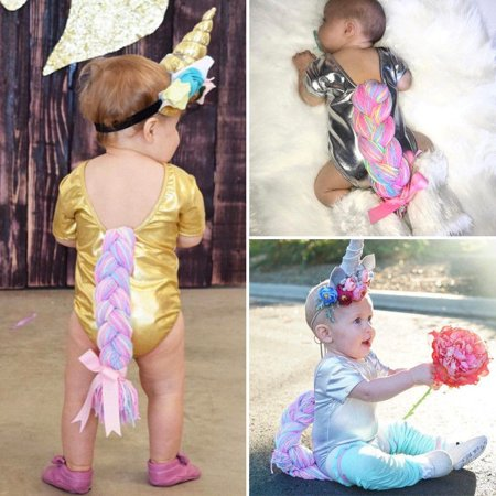Cute Fashion Newborn Baby Girl Romper Jumpsuit Bodysuit Unicorn Horsetail Costume Outfits Set Clothes New