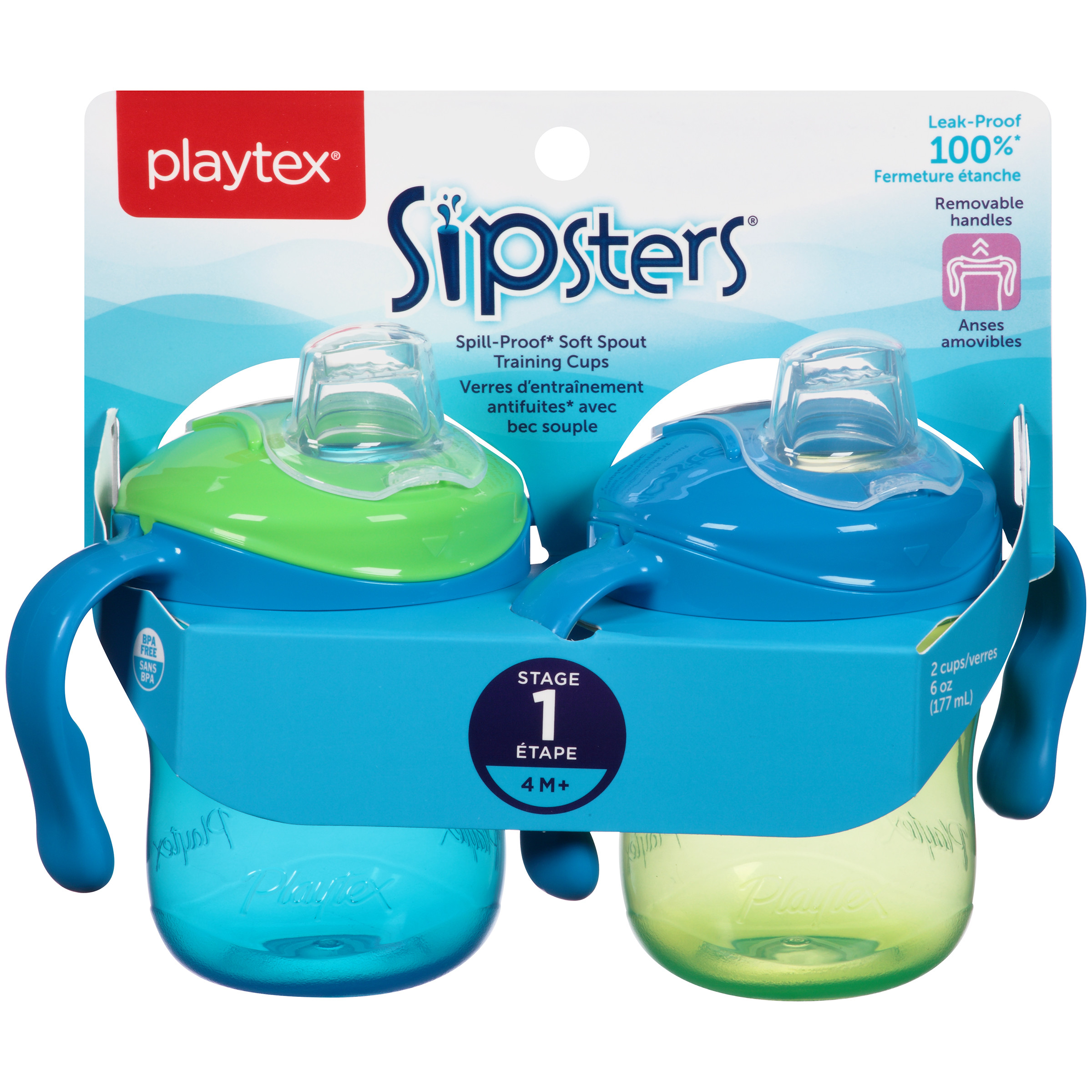 Playtex Sipsters Stage 1 Straw and Spout Trainer Sippy Cup 6oz 2-Pack Assorted Colors