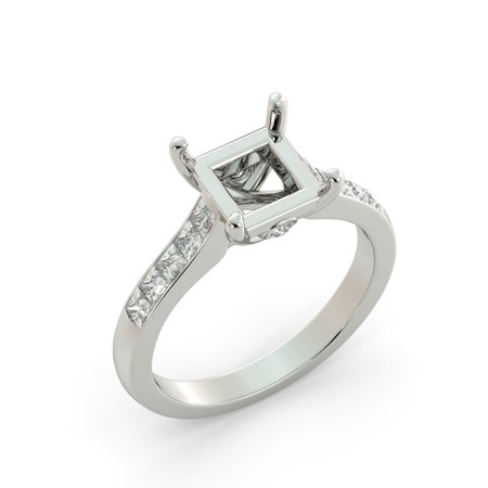 Platinum Semi Set (Princess Semi Mount Real Diamond Invisible Set Engagement Ring Platinum )