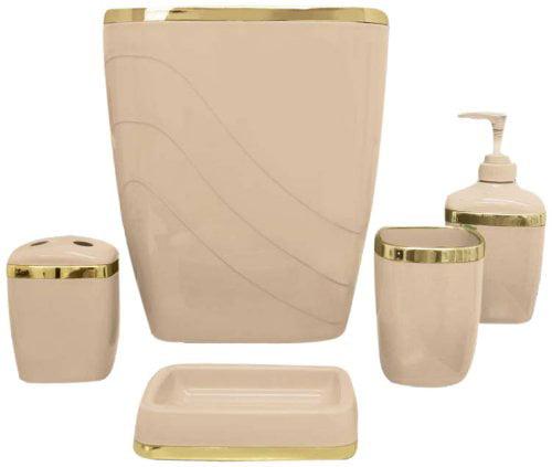 Linen Gold 5 Piece Bath Ensemble by Carnation Home Fashions