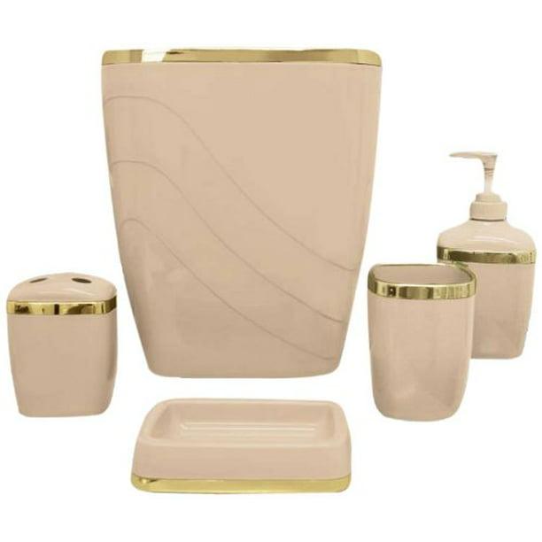Linen Gold 5 Piece Bath Accessory Set Walmart Com Walmart Com