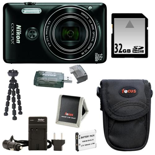 Nikon Coolpix S6900 Camera (Black) with 32GB Accessory Kit