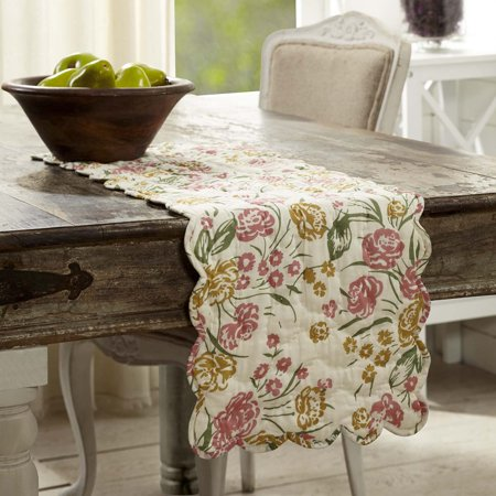 Deep Rectangle Tabletops - Antique White Farmhouse Tabletop Kitchen Madeline Floral Cotton Hand Quilted Voile Floral / Flower Rectangle 13x36 Runner