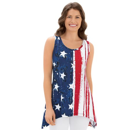 Women's Patriotic Sharkbite Vintage Styled Sleeveless Tank Top, Xx-Large, Multi