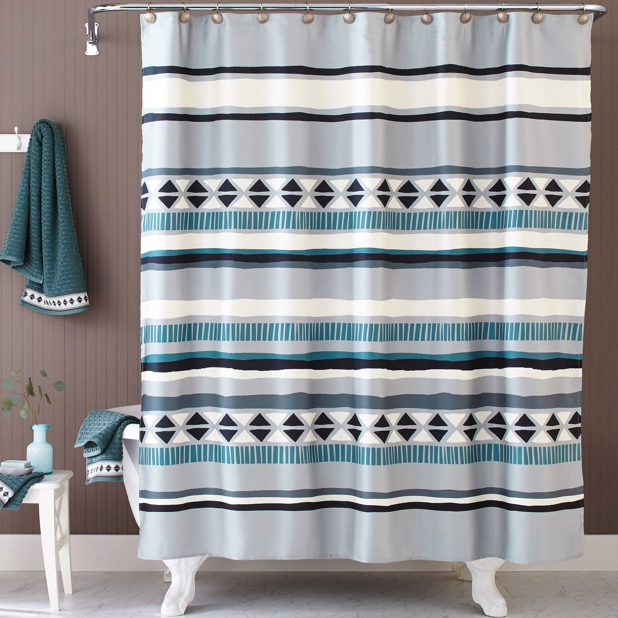 teal striped shower curtain.  Better Homes and Gardens Graphic Stripe Shower Curtain Walmart com