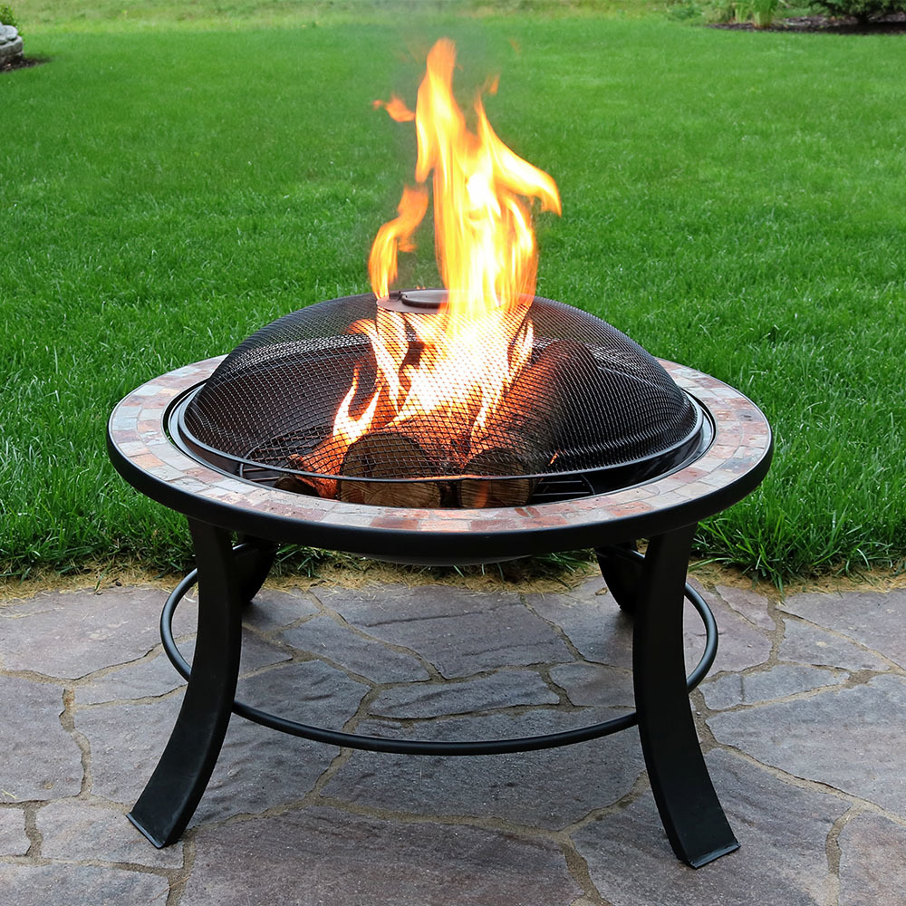 Sunnydaze 30 Inch Natural Slate Firepit Table with Spark Screen by Sunnydaze Decor