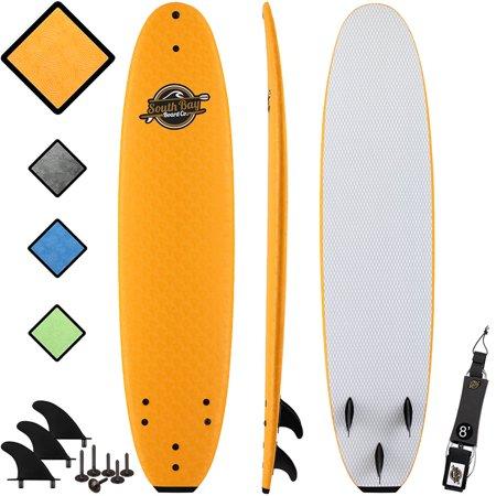 South Bay Board Co. 8' Orange Verve Soft Top Surfboard, Fin &