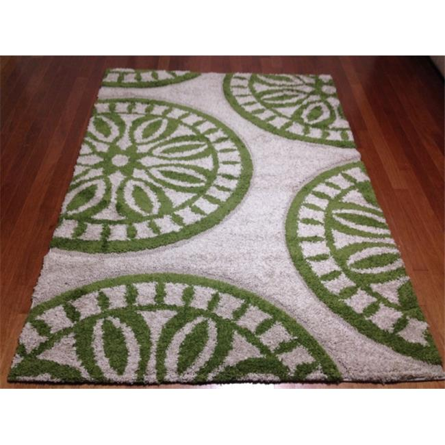 IMS 2852508640810 Geometric Contemporary Pattern Shag Area Rug Cut Loop Style, Green - 8 x 10 ft.