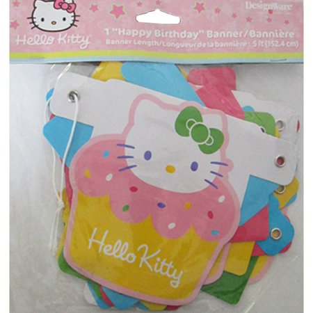 Hello Kitty 'Cupcake' Happy Birthday Banner (1ct) for $<!---->