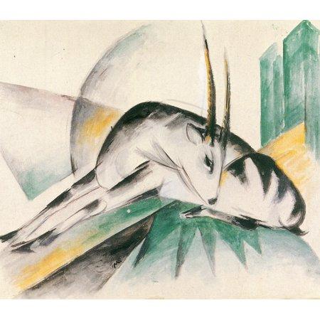 Framed Art for Your Wall Marc, Franz - Antelope (Gazelle) 10 x 13 Frame (Antelope Framed)