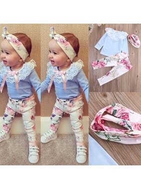 0dcf8e247 Product Image 3pcs Newborn Kids Baby Girls Lace Tops T-shirt+Floral Pants  Headband Outfits Set. Honganda
