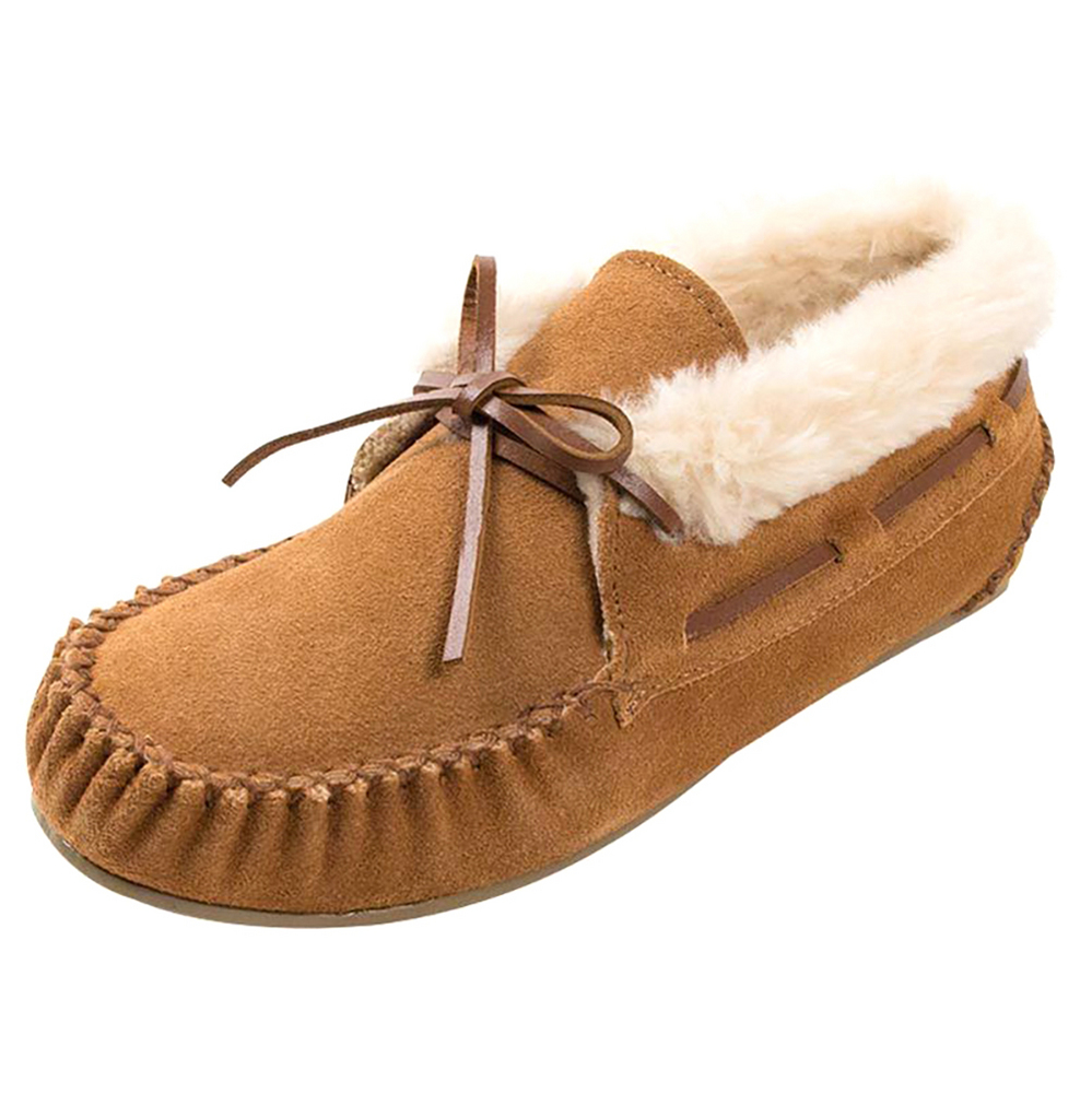 Minnetonka Womens Cinnamon Chrissy Faux Fur Mocs by MINNETONKA