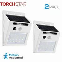 TORCHSTAR 20 LED Outdoor LED Solar Motion Sensor Lights, Wireless Outdoor Solar Security Lights, White, 2 Pack