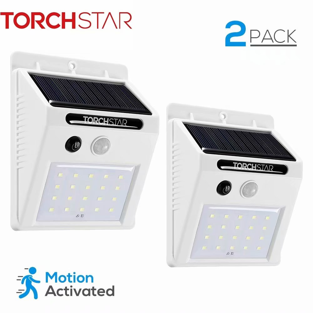 TORCHSTAR 20 LED 320lm Outdoor LED Solar Powered Motion Sensor Lights, Wireless Outdoor Wall Lights, White, Pack of 2