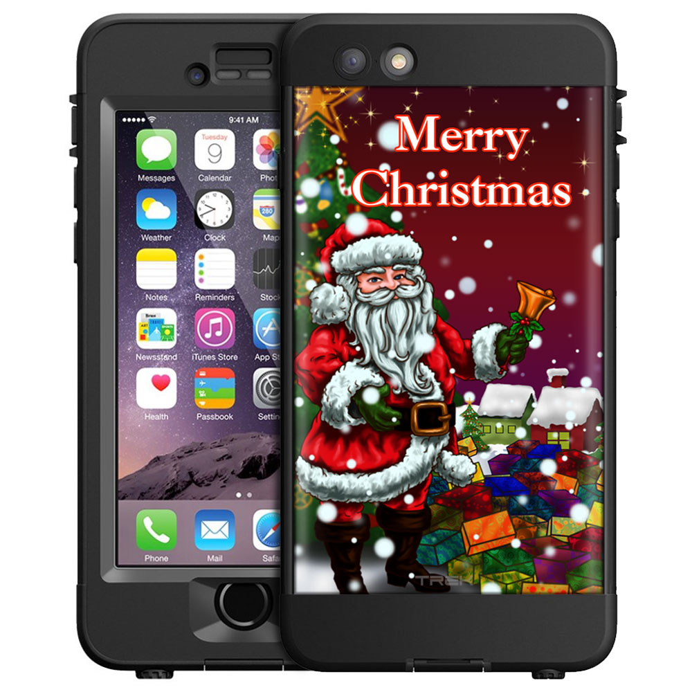 SKIN DECAL FOR LifeProof nuud Apple iPhone 6 Plus Case - Merry Christmas with Santa on Red DECAL, NOT A CASE