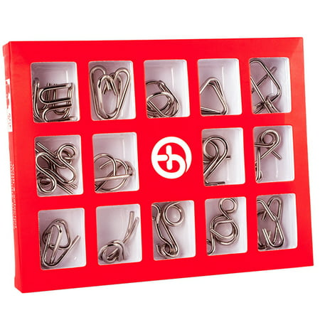 15 Pcs/Set IQ Metal Puzzle Mind Brain Teaser Magic Wire Puzzles Game Toys for Children Adults Kids Color:English version - Mind Teaser Games