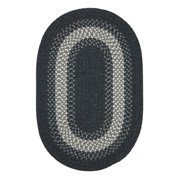 2' x 3' Charcoal Black and Gray Braided Oval Reversible Throw Rug